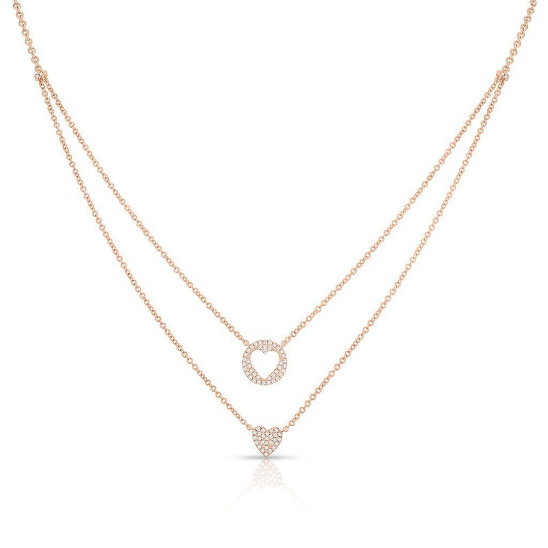 14KT Rose Gold Diamond Heart to Heart Necklace