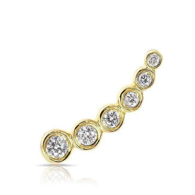 14KT Yellow Gold Diamond Mini Shooting Star Ear Climber