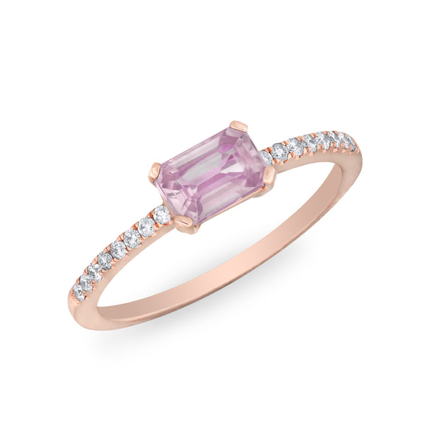 pink sapphire stone engagement promise diamond emerald cut cute ring