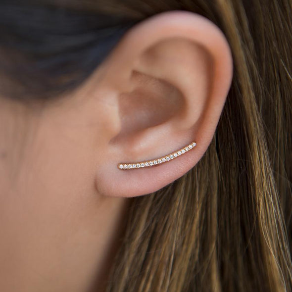 14KT Yellow Gold Diamond Crescent Ear Climber