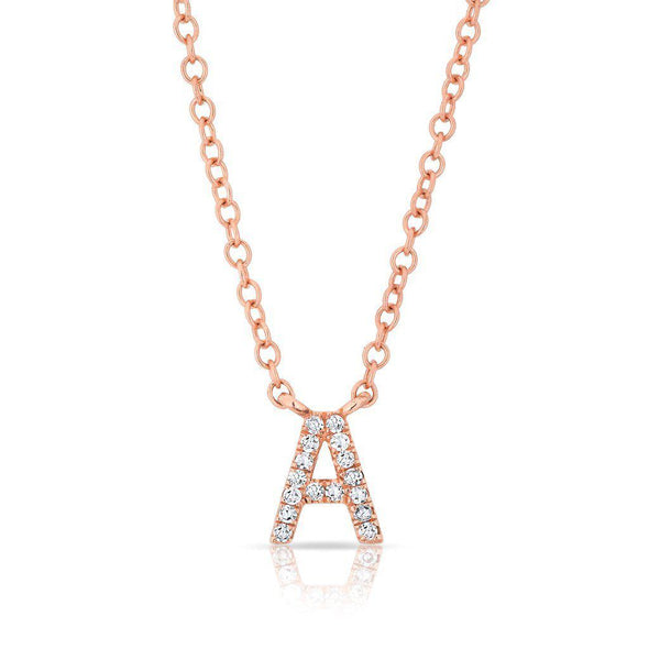 14KT Rose Gold Diamond Initial Pendant Necklace