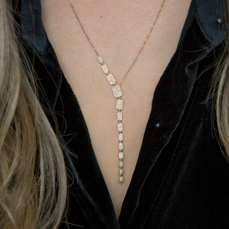 14KT Rose Gold Diamond Brick Drop Sienna Lariat Necklace-Anne Sisteron