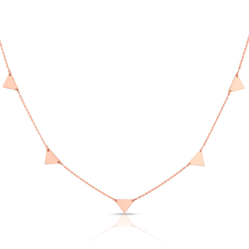 14KT Solid Rose Gold Triangles Necklace
