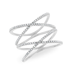14KT White Gold Diamond Double X Ring