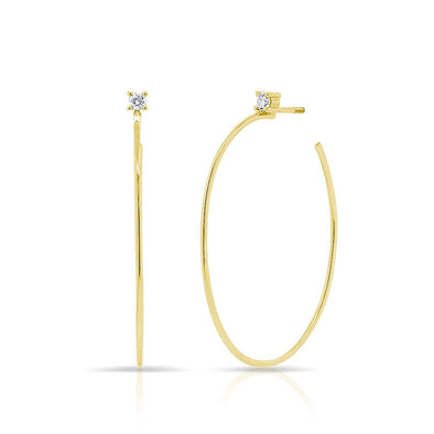14KT Yellow Gold Diamond Andrea Oval Hoop Earrings