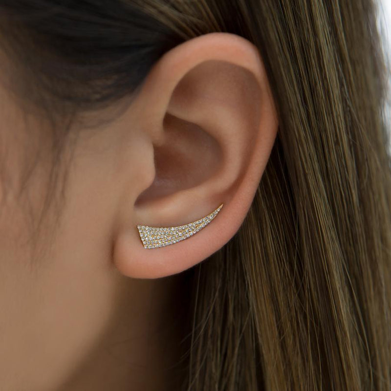 14KT Yellow Gold Diamond Horn Ear Climber-Anne Sisteron