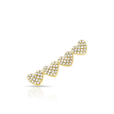14KT Yellow Gold Diamond Row of Hearts Climber
