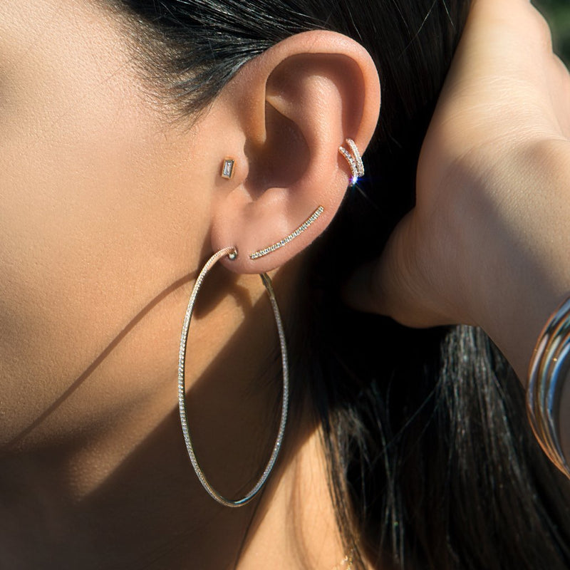 14KT Rose Gold Diamond Crescent Ear Climber