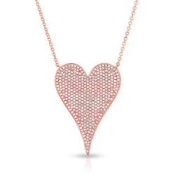 14KT Rose Gold Diamond Large Modern Pave Heart Necklace