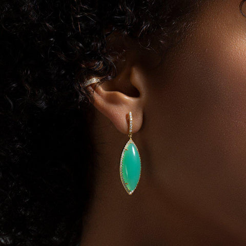 14KT Yellow Gold Diamond Chrysoprase Marquis Earrings
