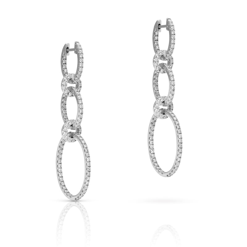 14KT White Gold Diamond Chain Link Earrings