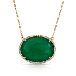 14KT Yellow Gold Emerald Diamond Oval Triplet Sage Necklace