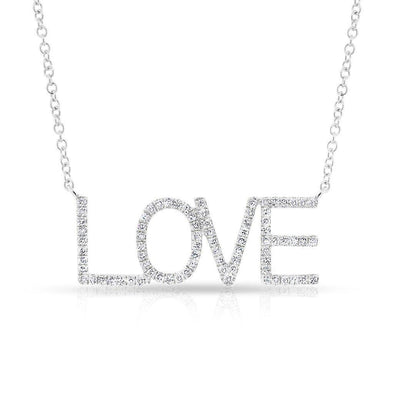 14KT White Gold Diamond Love Note Necklace