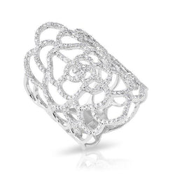 14KT White Gold Diamond Camellia Flower Ring