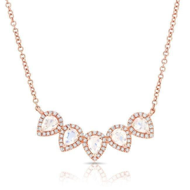14KT Rose Gold Moonstone Diamond Crown Necklace