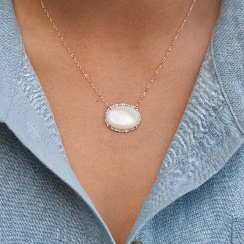 14KT Rose Gold Mother of Pearl Diamond Necklace-Anne Sisteron