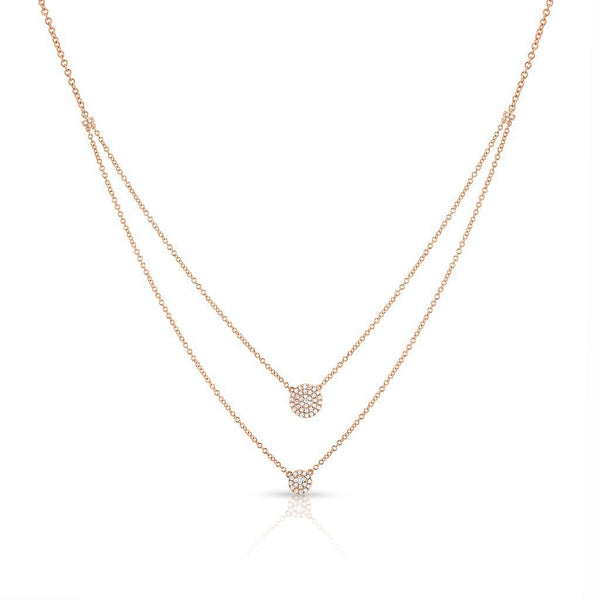 14KT Rose Gold Diamond Mikaila Double Layer Necklace