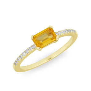 14KT Yellow Gold Orange Sapphire Diamond Madeline Ring