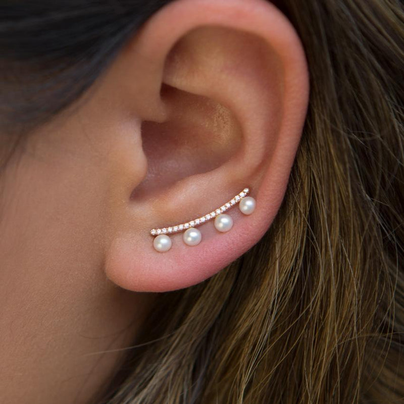 14KT Rose Gold Diamond Pearl Bar Hayley Ear Climber