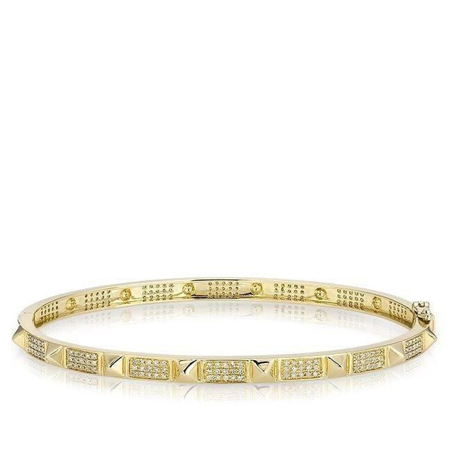14KT Yellow Gold Diamond Punk Rock Bangle