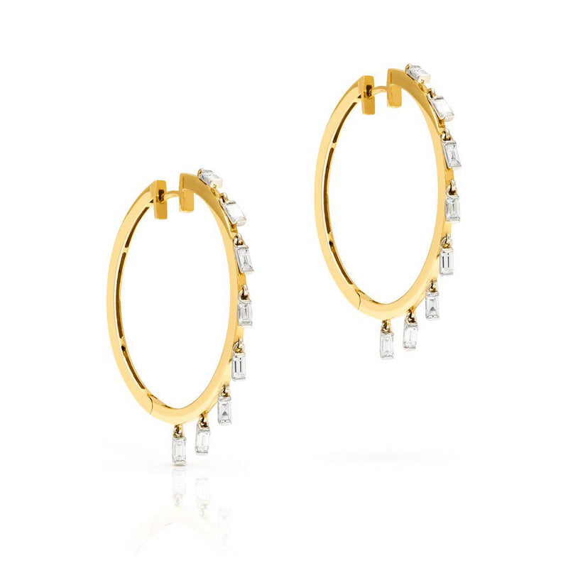 18KT Yellow Gold Baguette Diamond Lorelei Hoop Earrings
