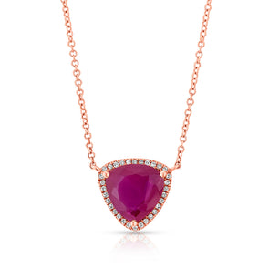 14KT Rose Gold Rounded Triangle Ruby Diamond Necklace