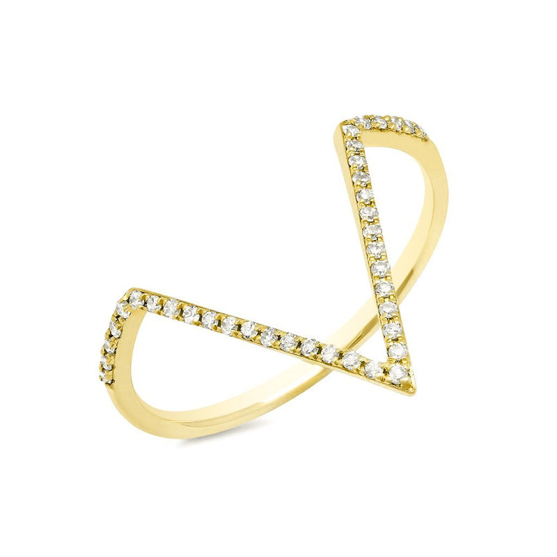14KT Yellow Gold Diamond V Ring