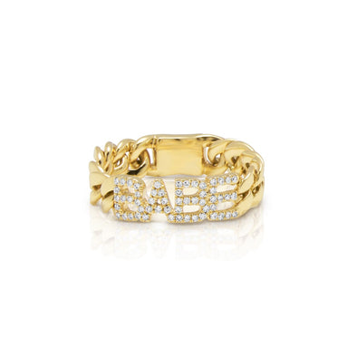 14KT Yellow Gold Diamond Babe Chain Link Ring