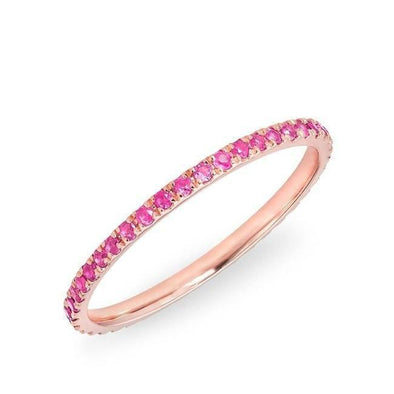 14KT Rose Gold Pink Sapphire Eternity Stacking Ring