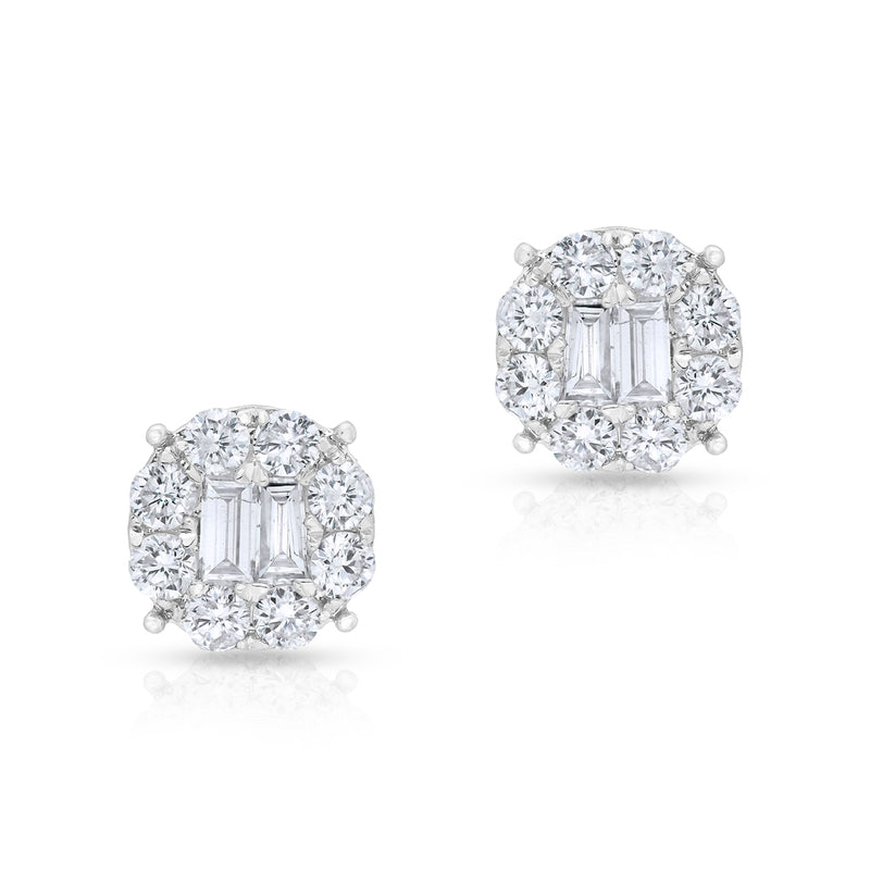 14KT White Gold Diamond Baguette Larissa Stud Earrings