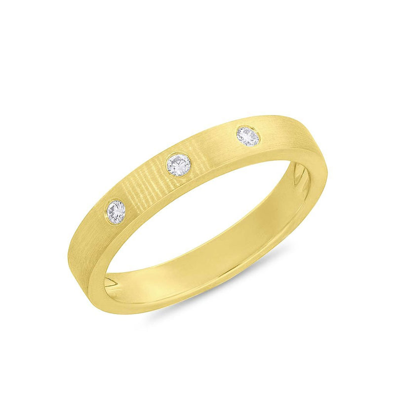 14KT Yellow Gold Diamond Matte Band Ring