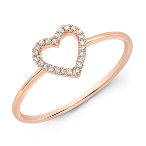 14KT Rose Gold Diamond Open Heart Ring