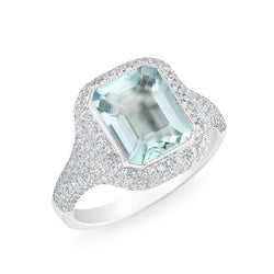 14KT White Gold Diamond Aquamarine Rectangle Ring