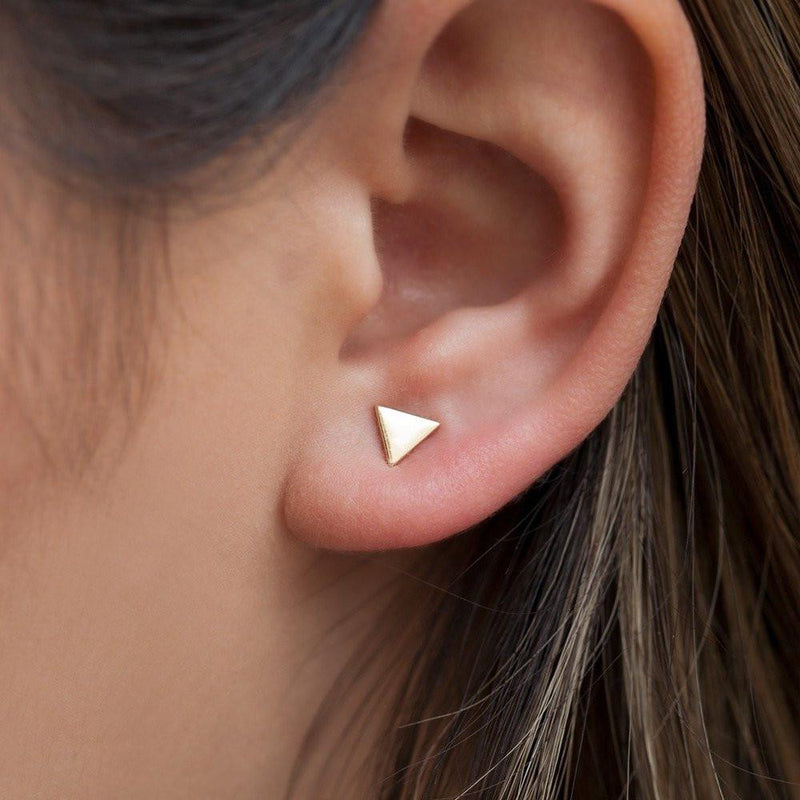 14KT White Gold Triangle Stud Earrings-Anne Sisteron