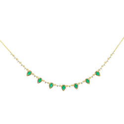 14KT Yellow Gold Emerald Diamond Aleigha Drop Necklace