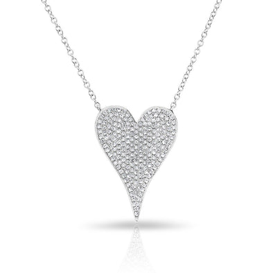 14KT White Gold Diamond Medium Modern Pave Heart Necklace