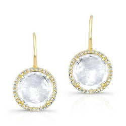 14KT Yellow Gold White Topaz Diamond Round Earrings