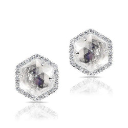 14KT White Gold Moonstone Diamond Hexagon Stud Earrings