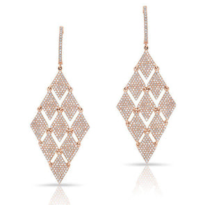 14KT Rose Gold Diamond Triangle Chime Earrings