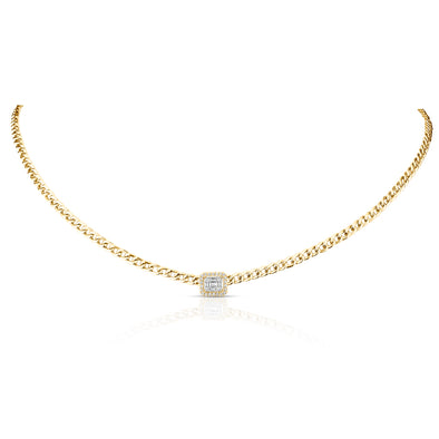 14KT Yellow Gold Baguette Diamond Haiden Chain Link Necklace