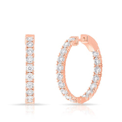 14KT Rose Gold Diamond Small Bella Hoop Earrings