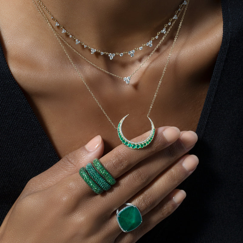 14KT White Gold Emerald Lunar Diamond Necklace-Anne Sisteron