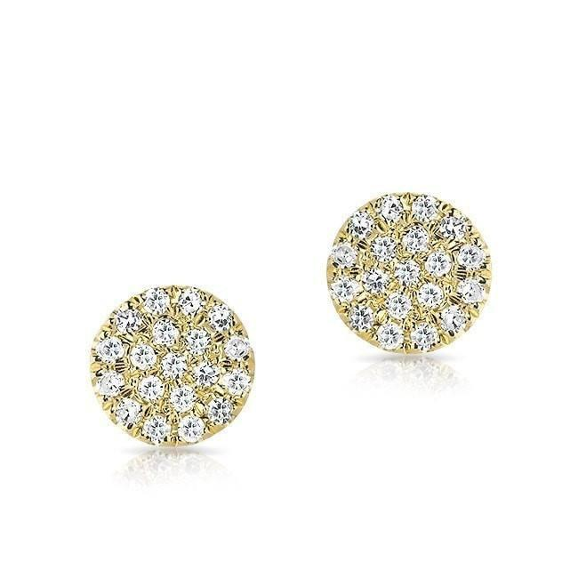 14KT Yellow Gold Mini Diamond Disc Stud Earrings