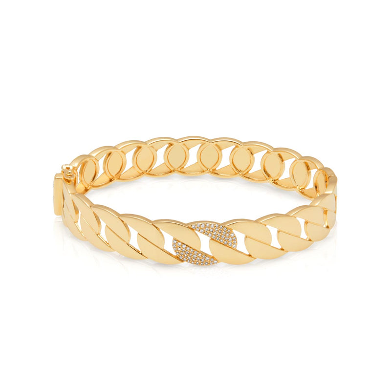 14KT Yellow Gold Diamond Pharis Bangle Bracelet