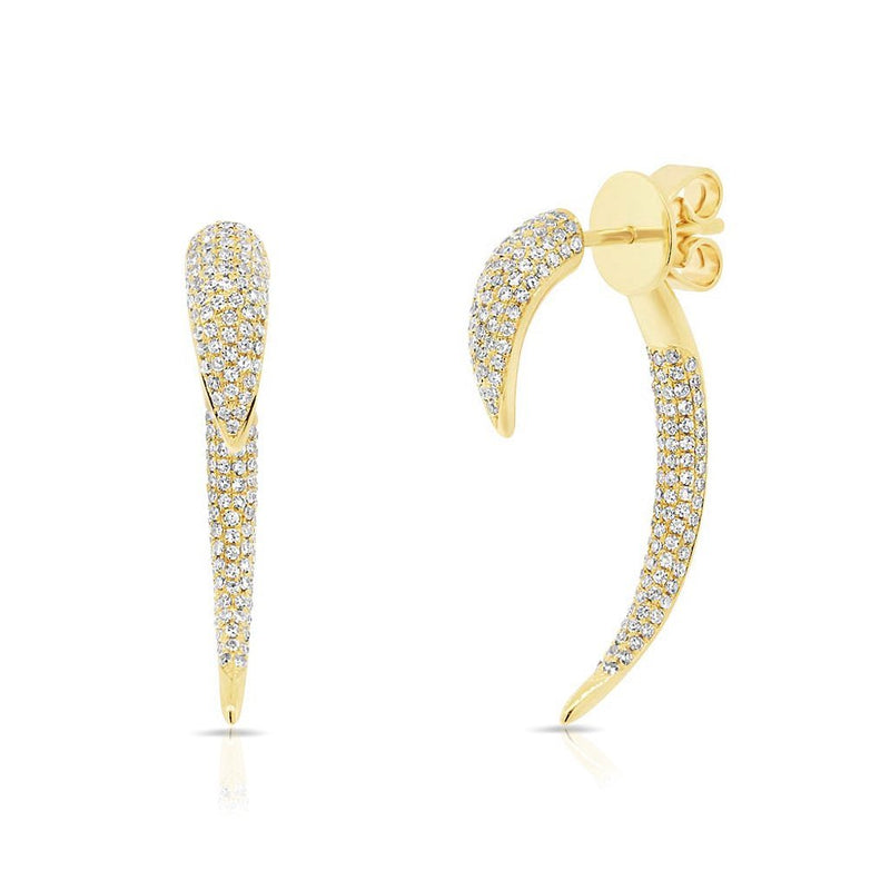 14KT Yellow Gold Diamond Edgy Sabre Earrings
