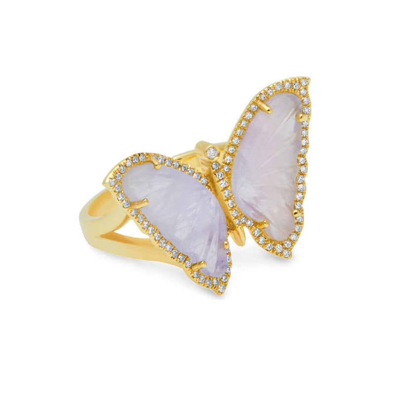 14KT Yellow Gold Moonstone Diamond Butterfly Ring