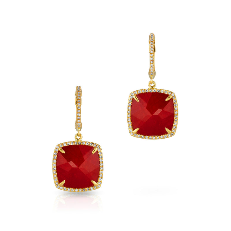 14KT Yellow Gold Ruby Mini Cushion Diamond Earrings