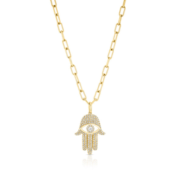 14KT Yellow Gold Evil Eye Hamsa Charm Necklace