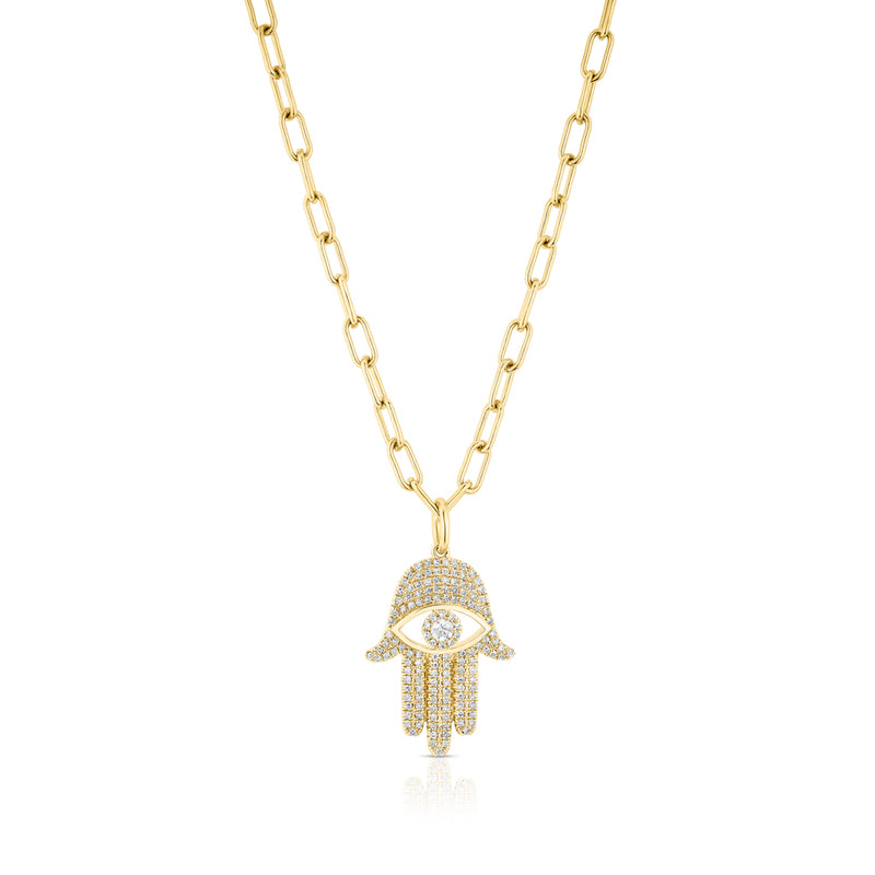 14KT Yellow Gold Diamond Evil Eye Hamsa Charm