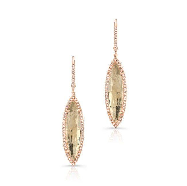 14KT Rose Gold Diamond White Topaz Small Serena Marquis Earrings